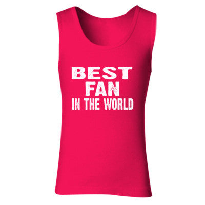 Best Fan In The World - Ladies' Soft Style Tank Top S-Cherry Red- Cool Jerseys - 1