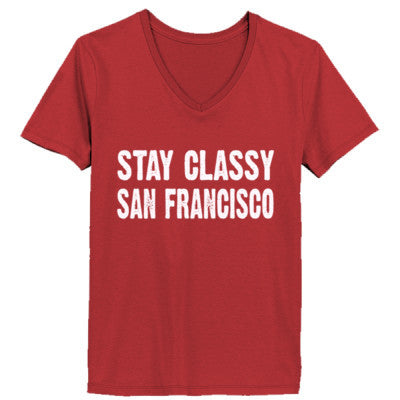 Stay Classy San Francisco tshirt - Ladies' V-Neck T-Shirt XS-Vintage Red- Cool Jerseys - 1