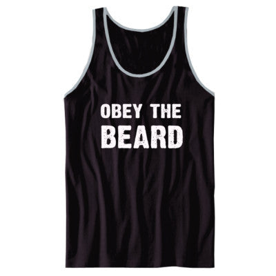 Obey The Beard Tshirt - Unisex Jersey Tank XS-Black- Cool Jerseys - 1