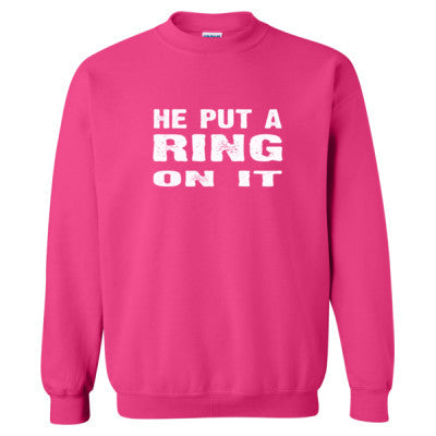 He Put A Ring On It Tshirt - Heavy Blend™ Crewneck Sweatshirt S-Heliconia- Cool Jerseys - 1