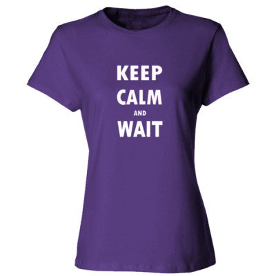 Keep Calm And Wait - Ladies' Cotton T-Shirt S-Purple- Cool Jerseys - 1