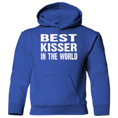 Best Kisser In The World - Heavy Blend Children's Hooded Sweatshirt S-Royal- Cool Jerseys - 1