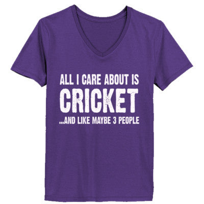 All i Care About Cricket And Like Maybe Three People tshirt - Ladies' V-Neck T-Shirt - Cool Jerseys - 1