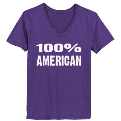 100% American tshirt - Ladies' V-Neck T-Shirt XS-Purple- Cool Jerseys - 1