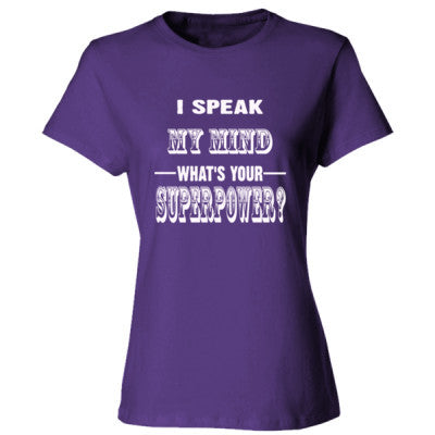 I Speak My Mind - Ladies' Cotton T-Shirt S-Purple- Cool Jerseys - 1