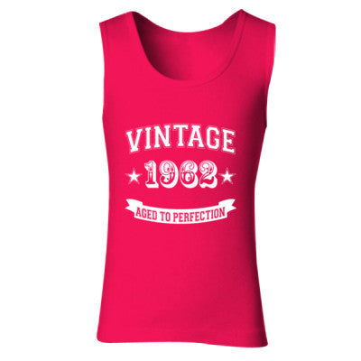 Vintage 1962 Aged To Perfection - Ladies' Soft Style Tank Top S-Cherry Red- Cool Jerseys - 1