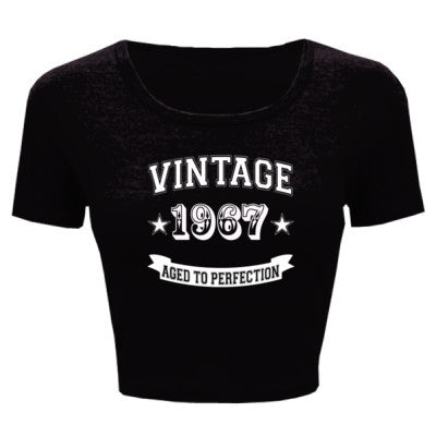 Vintage 1967 Aged To Perfection - Ladies' Crop Top XS/S-Black- Cool Jerseys - 1