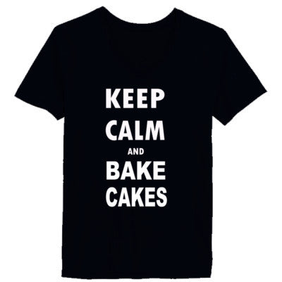Keep Calm and Bake Cakes - Ladies' V-Neck T-Shirt XS-Vintage Black- Cool Jerseys - 1