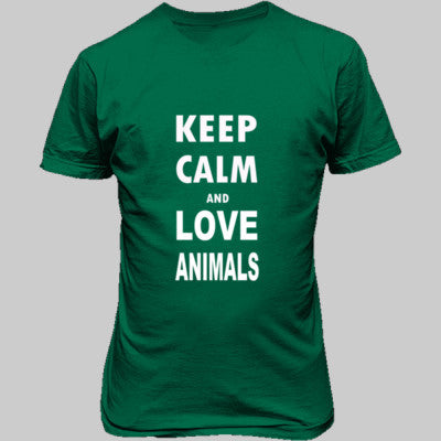 Keep Calm And Love Animals - Unisex T-Shirt FRONT Print S-Kelly Green- Cool Jerseys - 1