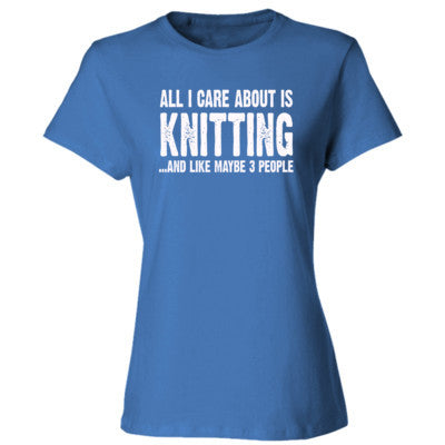 All i Care About Is Knitting tshirt - Ladies' Cotton T-Shirt S-Carolina Blue- Cool Jerseys - 1