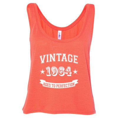 Vintage 1964 Aged To Perfection - Ladies' Cropped Tank Top S-Coral- Cool Jerseys - 1