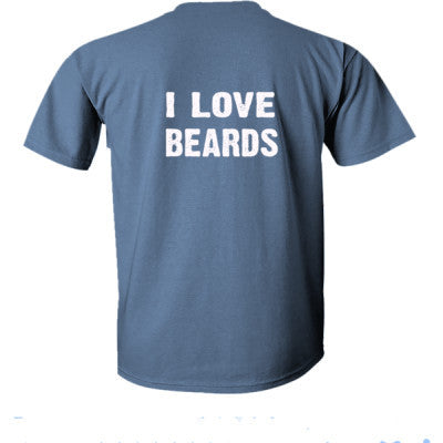 I Love Beards Tshirt - Ultra-Cotton T-Shirt Back Print Only S-Heather Indigo- Cool Jerseys - 1