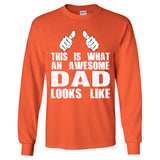 This is What An Awesome Dad Looks Like - Long Sleeve T-Shirt S-Orange- Cool Jerseys - 1