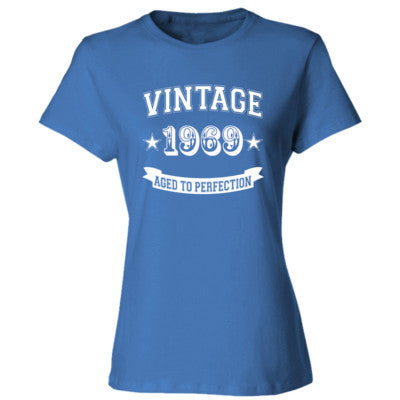 Vintage 1969 Aged To Perfection Tshirt - Ladies' Cotton T-Shirt S-Carolina Blue- Cool Jerseys - 1