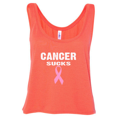 Cancer Sucks Tshirt - Ladies' Cropped Tank Top S-Coral- Cool Jerseys - 1