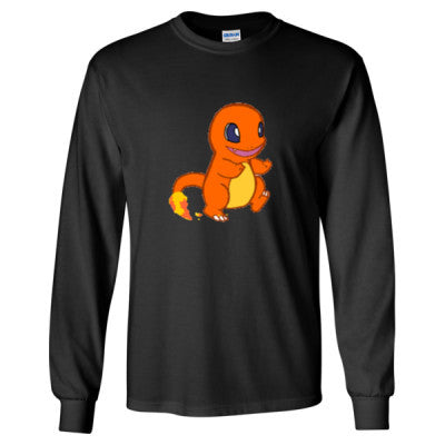 Charmander (Pokemon) Tshirt - Long Sleeve T-Shirt S-Black- Cool Jerseys - 1