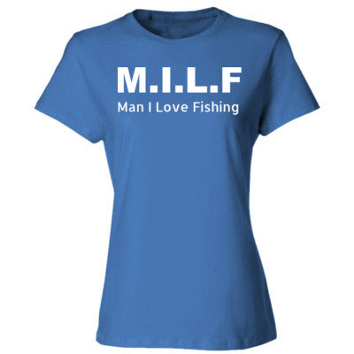 Man I Love Fishing - Ladies' 4.5 oz., 100% Ringspun Cotton nano-T® T-Shirt S-Carolina Blue- Cool Jerseys - 1