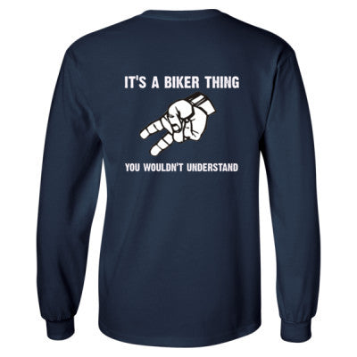 Biker Wave tshirt - Long Sleeve T-Shirt - BACK PRINT ONLY S-Navy- Cool Jerseys - 1
