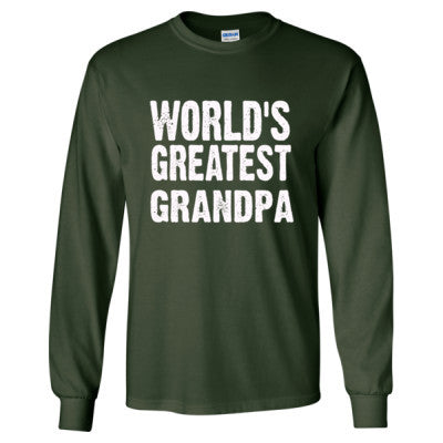 Worlds Greatest Grandpa - Long Sleeve T-Shirt S-Forest Green- Cool Jerseys - 1