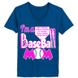 Baseball Mom Tee - Ladies' V-Neck T-Shirt - Cool Jerseys - 1