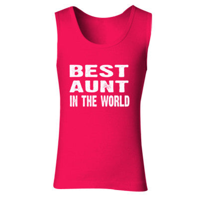 Best Aunt In The World - Ladies' Soft Style Tank Top S-Cherry Red- Cool Jerseys - 1