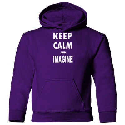 Keep Calm And Imagine - Heavy Blend Children's Hooded Sweatshirt S-Purple- Cool Jerseys - 1