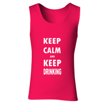Keep Calm And Keep Drinking - Ladies' Soft Style Tank Top S-Cherry Red- Cool Jerseys - 1