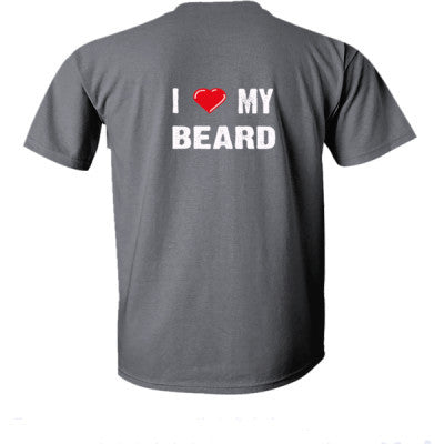 I Love My Beard tshirt - Ultra-Cotton T-Shirt Back Print Only S-Dark Heather- Cool Jerseys - 1