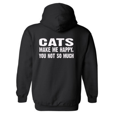 Cats Make me happy, you not so much tshirt - Heavy Blend™ Hooded Sweatshirt BACK ONLY S-Black- Cool Jerseys - 1
