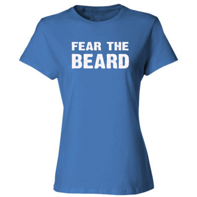 Fear The Beard Tshirt - Ladies' Cotton T-Shirt S-Carolina Blue- Cool Jerseys - 1