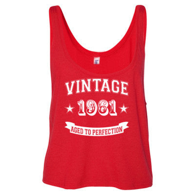 Vintage 1961 Aged To Perfection - Ladies' Cropped Tank Top S-Red- Cool Jerseys - 1