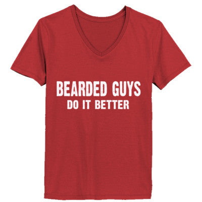 Bearded Guys Do It Better tshirt - Ladies' V-Neck T-Shirt XS-Vintage Red- Cool Jerseys - 1