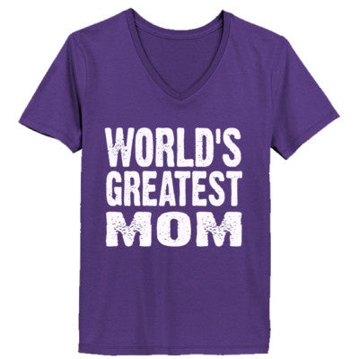 Worlds Greatest Mom - Ladies' V-Neck T-Shirt - Cool Jerseys - 1