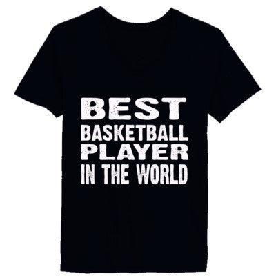 Best Basketball Player In The World - Ladies' V-Neck T-Shirt XS-Vintage Black- Cool Jerseys - 1