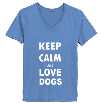 Keep Calm And Love Dogs - Ladies' V-Neck T-Shirt - Cool Jerseys - 1
