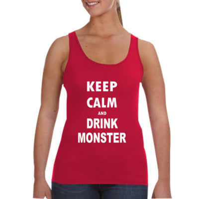 Keep Calm And Drink Monster - Ladies Tank Top S-Independence Red- Cool Jerseys - 1