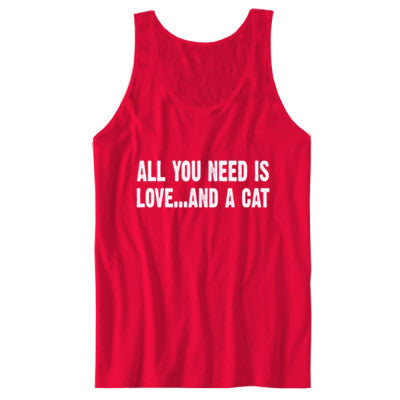 All you need is love and a cat tshirt - Unisex Jersey Tank S-Red- Cool Jerseys - 1