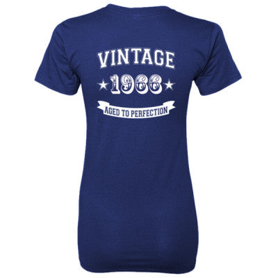 Vintage 1966 Aged To Perfection - Ladies' 100% Ringspun Cotton nano-T® Back Print Only S-Navy- Cool Jerseys - 1