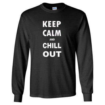 Keep Calm and Chill Out - Long Sleeve T-Shirt S-Black- Cool Jerseys - 1