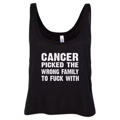 Cancer Picked The Wrong Family To Fuck With Tshirt - Ladies' Cropped Tank Top - Cool Jerseys - 1