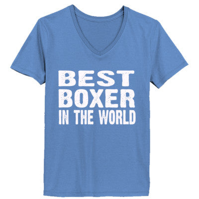 Best Boxer In The World - Ladies' V-Neck T-Shirt XS-Vintage Blue- Cool Jerseys - 1