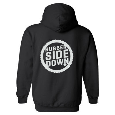 Keep The Rubber Side Down Heavy Blend™ Hooded Sweatshirt BACK ONLY S-Black- Cool Jerseys - 1
