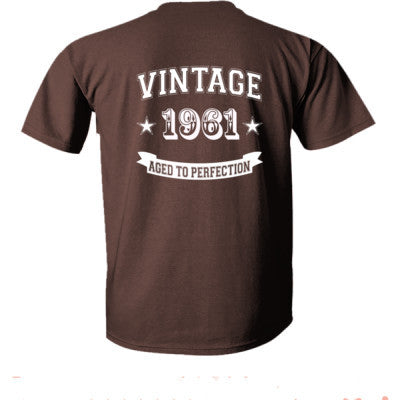 Vintage 1961 Aged To Perfection - Ultra-Cotton T-Shirt Back Print Only S-Dark Chocolate- Cool Jerseys - 1