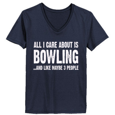 All i Care About Bowling And Like Maybe Three People tshirt - Ladies' V-Neck T-Shirt XS-Deep Navy- Cool Jerseys - 1