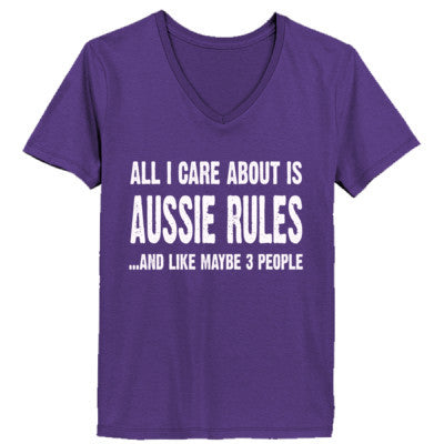 All i Care About Is Aussie Rules And Like Maybe Three People tshirt - Ladies' V-Neck T-Shirt XS-Purple- Cool Jerseys - 1