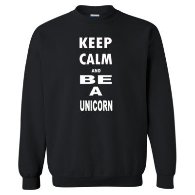 Keep Calm and Be Unicorn - Heavy Blend™ Crewneck Sweatshirt S-Black- Cool Jerseys - 1