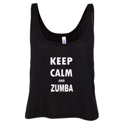Keep Calm And Zumba - Ladies' Cropped Tank Top S-Black- Cool Jerseys - 1