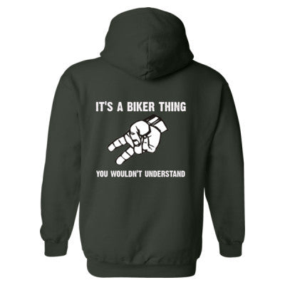 Motorcycle Wave - Heavy Blend™ Hooded Sweatshirt BACK ONLY S-Forest- Cool Jerseys - 1