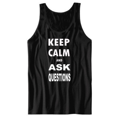 Keep Calm and Ask Questions  - Unisex Jersey Tank S-Black- Cool Jerseys - 1