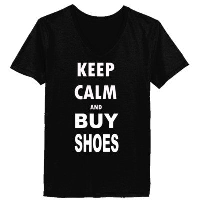 Keep Calm and Buy Shoes - Ladies' V-Neck T-Shirt - Cool Jerseys - 1